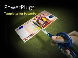 PowerPlugs: PowerPoint template with a person trying to cut the note with greenish background