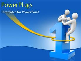 PowerPlugs: PowerPoint template with a person trying to help the other one get on top of the digit