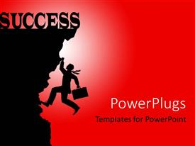 PowerPoint template displaying a person trying to hold the cliff with the word success on top of it