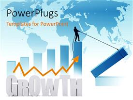 PowerPlugs: PowerPoint template with a person trying to hold part of the graph