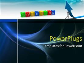 PowerPlugs: PowerPoint template with a person trying to lift the arrow with   bluish background