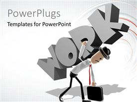 PowerPlugs: PowerPoint template with a person trying to lift the work
