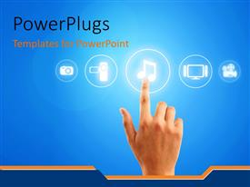 PowerPlugs: PowerPoint template with a person trying to listen to music