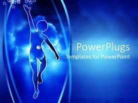 PowerPlugs: PowerPoint template with a person trying to reach the sky