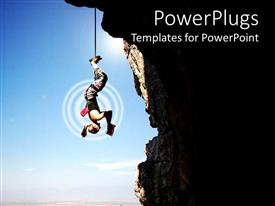 PowerPlugs: PowerPoint template with a person trying to read a book