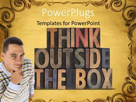 PowerPlugs: PowerPoint template with a person trying to think something different with yellowish background