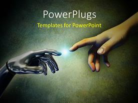 PowerPoint template displaying a person trying to touch a robotic hand
