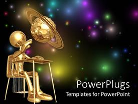 PowerPlugs: PowerPoint template with a person trying to touchj a planet with galaxies in the background