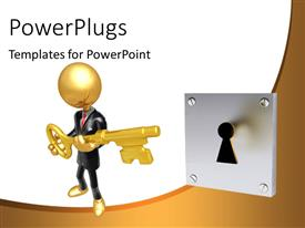 PowerPlugs: PowerPoint template with a person trying to unlock with the help of a key