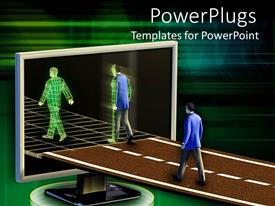 PowerPoint template displaying a person turning into electrical version after passing a threshold