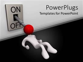 PowerPlugs: PowerPoint template with a person turning a switch on and off
