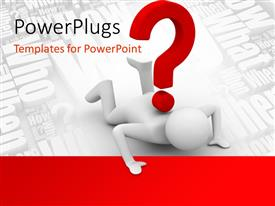 PowerPlugs: PowerPoint template with a person under the question mark with white background