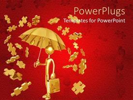 PowerPlugs: PowerPoint template with a person under an umbrella with puzzle pieces around him