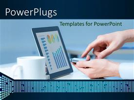 PowerPlugs: PowerPoint template with a person using a device with a number of pie charts and graphs in front