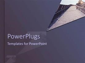 PowerPlugs: PowerPoint template with a person walking on the great wall of China with grayish background
