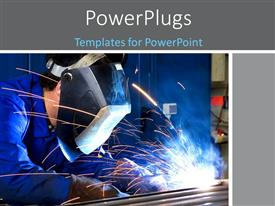 PowerPlugs: PowerPoint template with a person welding the rods with bluish background