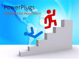 PowerPlugs: PowerPoint template with a person winning the race of climbing the stairs
