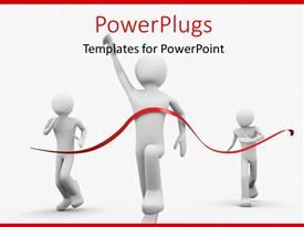 PowerPlugs: PowerPoint template with a person winning the race with lines in the background
