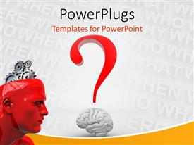PowerPoint template displaying a person without a brain with words in the background