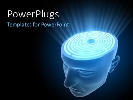 PowerPlugs: PowerPoint template with a person without a skull and bluish background
