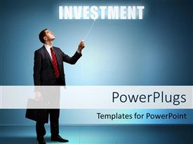 PowerPoint template displaying a person with the word investment and a bluish background