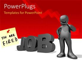 PowerPoint template displaying a person with the word job and reddish background