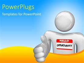 PowerPlugs: PowerPoint template with a person with the word opportunity and white background