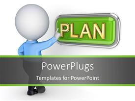 Beautiful presentation design with a person with the word plan