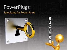 PowerPlugs: PowerPoint template with a person with the word success and a key in background