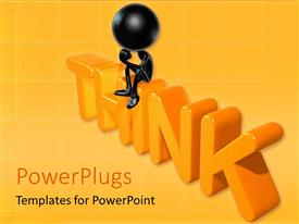 PowerPlugs: PowerPoint template with a person with a word think and orange background