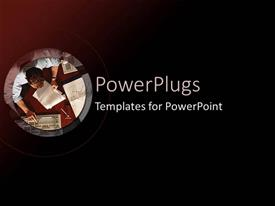 PowerPoint template displaying a person working with black background