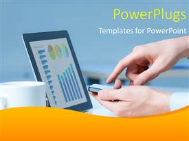 PowerPlugs: PowerPoint template with a person working on the cell phone with a tab in front of him