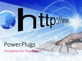 PowerPlugs: PowerPoint template with a person working on the keyboard with the globe in the background