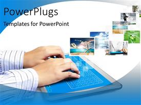 PowerPoint template displaying a person working on thr tab with white background and a number of pictures
