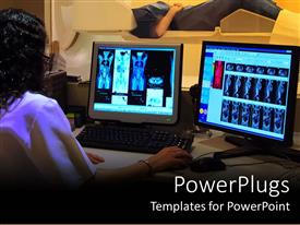 PowerPlugs: PowerPoint template with a person working on two screens along with a a patient in the background