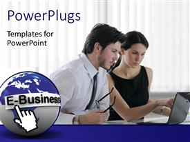 PowerPlugs: PowerPoint template with a person working with the woman and curtains in the background