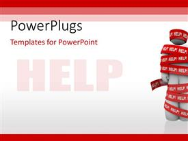 PowerPlugs: PowerPoint template with red tape with HELP tag wrapped around 3D man