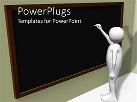 PowerPlugs: PowerPoint template with person writing on blackboard with chalk