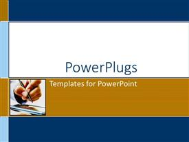 PowerPlugs: PowerPoint template with a person writing on a cell phone with white background