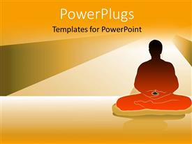 PowerPlugs: PowerPoint template with a person in a yoga hape with lights in the background