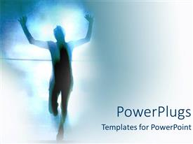 PowerPlugs: PowerPoint template with personal race success achievement running man white background