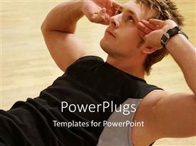 PowerPoint template displaying a personal trainer from Denmark work out with flooring
