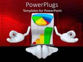 PowerPlugs: PowerPoint template with personified business graphs meditating in front of red background