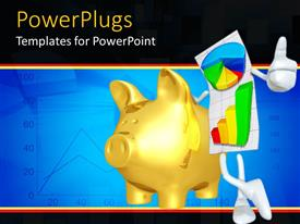 PowerPlugs: PowerPoint template with personified graph paper with multicolored graphs gives thumbs up next to golden piggy bank
