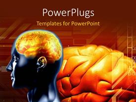 PowerPlugs: PowerPoint template with a person's brain with reddish background