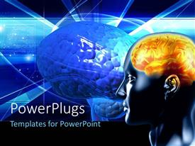 PowerPlugs: PowerPoint template with a person's brain in yellowish color with a brain in bluish color