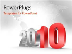 PowerPlugs: PowerPoint template with perspective image of year 2010, with map