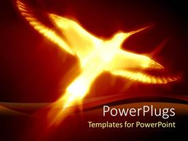 PowerPlugs: PowerPoint template with a phoenix flaying on the reddish black background