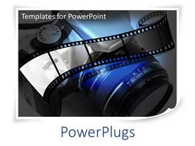 PowerPlugs: PowerPoint template with photography with film and SLR camera lens in blue, white, grey, black