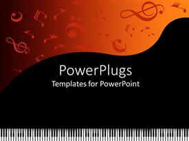 PowerPlugs: PowerPoint template with piano keys with music symbols on black and orange background